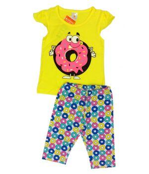 Пижама для девочки Пончики жёлтая