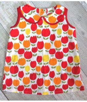 Платье для девочки из бязи Тюльпаны