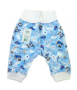 Голубые ползунки для мальчика из хлопка